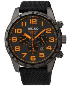 Seiko Men's Chronograph Solar Black Nylon Strap Watch 45mm SSC233 | macys.com