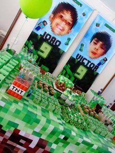 Cake + Sweet Table from a Minecraft Birthday Party via Kara's Party Ideas | KarasPartyIdeas.com (16)