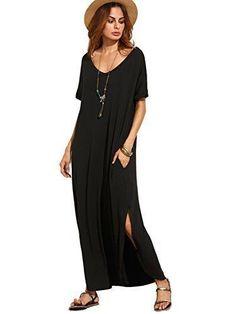 Makemechic Women's Casual Loose Pocket Long Dress Short Sleeve Split Max...