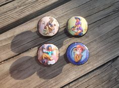 "Pin Up Girl Cowgirl Western Print 1.5"" Cabinet Drawer Knob Ranch Decor"
