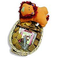 Dog Gift Basket:  This Basket contains a plush, fun squeak toy plus an assortment of Wholesome Hearts Low Fat Treats, Gourmet Dental Treats, Antioxidant Health Bars, PorkHide Dog Bones, and one 4-ounce bag of Tasty Rewards Training Treats. The gift basket is beautifully packaged with a ribbon. www.HealthyMenuPetFood.com