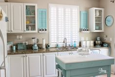 Coastal Cottage DIY Kitchen Makeover Featuring White & Aqua by Breezy Design at foxhollowcottage.com