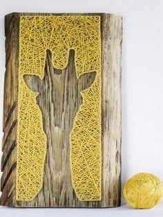Modern giraffe silhouette minimalist string art all season wall décor for living room, nursery, great gift for birthday, safari themed decor