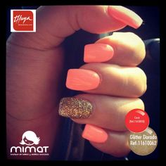 Light coral nails with gold glitter accent. Perfect nails for going out! Gorgeous Nails, Love Nails, How To Do Nails, My Nails, Perfect Nails, Vegas Nails, Style Nails, Polish Nails, Amazing Nails
