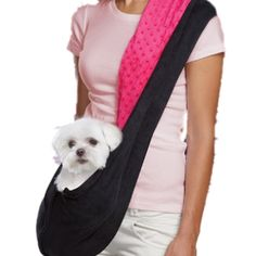 Pink / Black Reversible Sling Pet Carrier