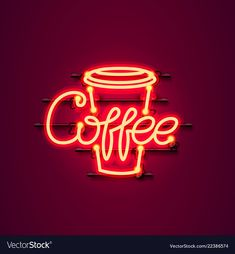 Neon coffee text icon signboard Royalty Free Vector Image - Coffee Icon - Ideas of Coffee Icon - Neon coffee text icon signboard Royalty Free Vector Image Coffee Icon, Coffee Logo, My Coffee, Coffee Time, Text Icons, Neon Words, Starbucks Logo, Neon Logo, Coffee Drawing