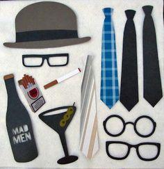 Mad Men Photo Props (hat, glasses, cigarette, martini, ties)