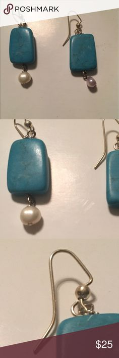 Beautiful earrings 💕💕💕 Silver hoops 💕turquoise with freshwater pearl 💕💕 handmade 💕💕💕all natural stones 💕💕💕 Design by Rita H. Jewelry Earrings