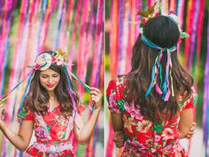 Festa Junina, look diy, coroa da flores, faça você mesmo, chapéu com fitas Mexico Party, Twist Ponytail, Cat Ears Headband, Diy Party Decorations, Holiday Festival, Pink Hair, Diy Fashion, Cute Girls, Halloween Costumes