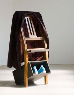 shoe storage shelves made of antique chair by Antikkombo