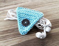 Blue Crochet Cord Holder, Headphone Organizer, Earbud Organizer, Smartphone Accessory, Earphone Cord keeper, Headphone USB Winder