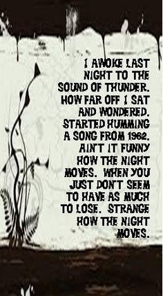 Night Moves. This part of the song always gives me chills.