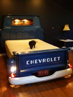 New truck bed date ideas chevy Ideas Car Part Furniture, Automotive Furniture, System Furniture, Automotive Decor, Furniture Plans, Furniture Design, Boy Room, Kids Room, Truck Bed Date