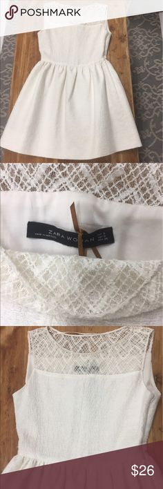 Zara white cotton and silk dress Fit and Flare!!! Lace, textured, silk lining. This is going to be your go to summer dress for date nights or days on the patio! Zara Dresses