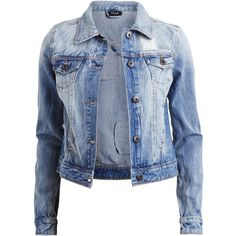 Vila Vifever - Denim Jacket ($39) ❤ liked on Polyvore featuring outerwear, jackets, tops, casacos, medium blue denim, distressed jacket, jean jacket, blue denim jacket, distressed denim jacket and vila