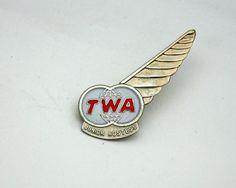 Vintage TWA pin, junior hostess, airline pin, wing, flying souvenir, TransWorld Airline, flight attendant, stewardess. via Etsy.
