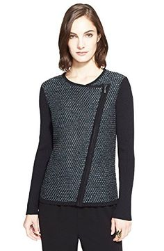 St. John Collection Twill Tweed Knit Moto Cardigan, Size S