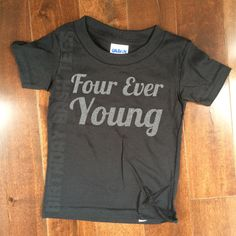 4 Year Old Birthday Shirt Four Ever Young Silver GLITTER Niece Nephew Son Daughter