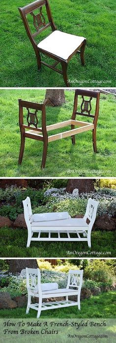 DIY French-Style Bench From Broken Chairs