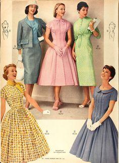 5cb205c17 Sears and Roebucks Catalog, Spring 1957 Anos 50, Vestido Longo, Mulheres Da  Moda
