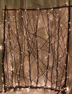 lighting twig screen has multiple uses. http://yourhandcraftedgarden.com/lighted_twig_screens__garden_gates