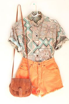 Aztec button up blouse and orange shorts? Where can I buy this outfit