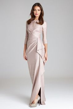 Mother of the Bride Dresses with Sleeves. Dresses with sleeves for mothers of the bride and mothers of the groom from BHLDN's latest dress collection for wedding attire for mothers. Mother Of The Bride Dresses Long, Mother Of Bride Outfits, Grooms Mother Dresses, Hijab Evening Dress, Evening Dresses, Long Sleeve Evening Gowns, Long Sleeve Gown, Tea Length Dresses, Dresses With Sleeves