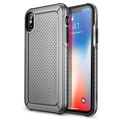 ESR iPhone X Case, Rugged Heavy Duty Bumper Armor Case [Shock-Absorption][High Wireless Charging Efficiency] for iPhone X (Grey) Best Amazon, Amazon Deals, Discount Shopping, Discount Deals, Amazon Tribe, Iphone Deals, Iphone Hacks, Gold Box, Iphone 8 Plus
