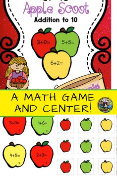 Your students will love playing this #math game on addition facts to ten as they move around the classroom. They can also use the #apple manipulatives in a center to help solve the #addition problems or make apple patterns.