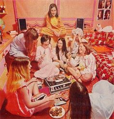 Slumber party, 1970's style - lots of details to see in this photo