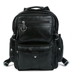 Mens Boys Genuine Cowhide Leather Tote Shoulders Backpack School Bag Bookbag