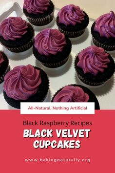 "Using all-natural ingredients, these Black Velvet Cupcakes are bursting with raspberry flavor.  They bake up a natural, rich black, making them perfect for those ""black-humor"" occasions.  #blackraspberry, #raspberry, #cupcakes, #allnatural, #organicrecipes, #bakingnaturally"