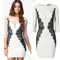 M L Plus Size 2013 New Fashion Women White Long Sleeve Vintage Lace Bodycon Dress Autumn Casual Dress 9027 US $16.99