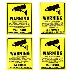 ANRAN 4 Pack Security Surveillance Warning Sign Eye-catching Deterrence Decals Stickers for CCTV Camera 24 hours Monitor Alert Sticker(Yellow) - Home Security