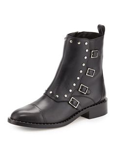 Baxter+Leather+Buckle+Bootie,+Black+by+Jimmy+Choo+at+Neiman+Marcus.