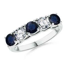 Half Eternity Five Stone Sapphire and Diamond Wedding Ring