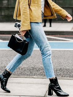 Our Favorite New Ways to Wear Ankle Boots With Skinny Jeans via @WhoWhatWear