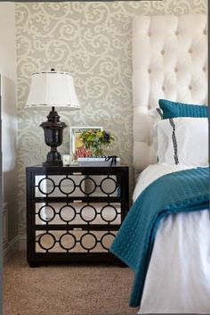 love the combo of dark overlay+mirror on nightstand; interplay between modern and traditional