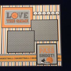 Basketball Scrapbook Layout Page, Premade Scrapbook Album Page, 12x12 Layout, Basketball Scrapbook, Children's Basketball Layout Page
