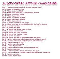 30 Day Open Letter Challenge - Cool idea for writing prompts.