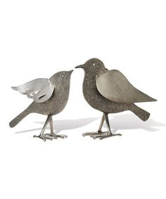 Silver Etched Bird Décor Set #zulily #zulilyfinds