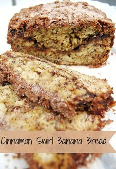 Cinnamon Swirl Banana Bread Ingredients  For the bread:  3 over-ripe bananas, smashed up  1/3 cup melted butter  3/4 cup sugar  1 egg, beaten  1 tsp vanilla  1 tsp baking soda  dash of salt  1 1/2 cups flour    For the swirl:  1/3 cup sugar  1 Tbs cinnamon