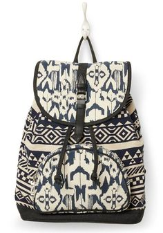 Celebrate the traditional Indonesian dyeing technique used by artisans around the world with this ikat-patterned backpack.