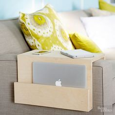 Use this step-by-step tutorial to build an over-the-arm caddy to store electronics or magazines in lieu of a side table.