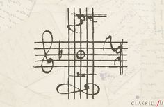 While Bach never actually used this clever signature, musicians devised the B A C H score in the 19th century and sketched it out in Bach's hand. In German musical notation, B flat, A, C, B natural are written as B A C H, cleverly spelling out the composer's name. By using a treble clef, tenor clef, alto clef, and another treble clef, this beautiful cross drawing spells out the word with a single note intersecting the four staves.