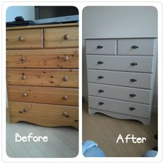 Painted a pine chest of drawers in dove grey and added new handles.