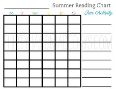 Summer Reading Chart: have kids keep track of their reading during the week and if they accomplish the objective they get to pick an activity for the next week