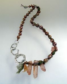 Urban Primitive Early Spring Goddess Necklace; fine and sterling silver, freshwater pearls, tangerine quartz points, eco-dyed silk; kathy van kleeck
