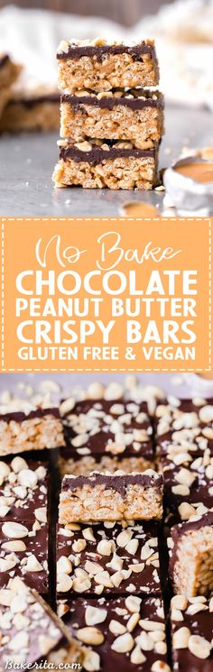 These ChocolatePeanutButter Crispy Bars are crunchy peanut butter perfection, and you only need FIVE ingredients to make them! These gluten-free and vegan crispy bars are sure to satisfy your chocolate peanut butter cravings. #GF #Halloween #Christmas #desserts