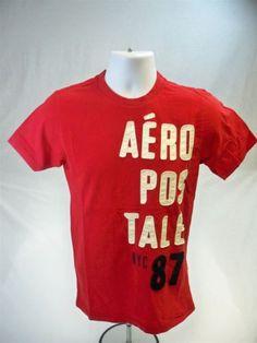 Aeropostale-Mens-Short-Sleeve-Graphic-T-shirt-Red-size-S-Aero-Tee-New